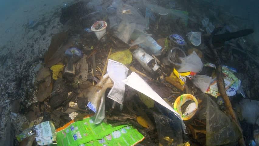 Plastic garbage and other debris floating in the tide mark underwater in Bunaken Island, Sulawesi #5415416