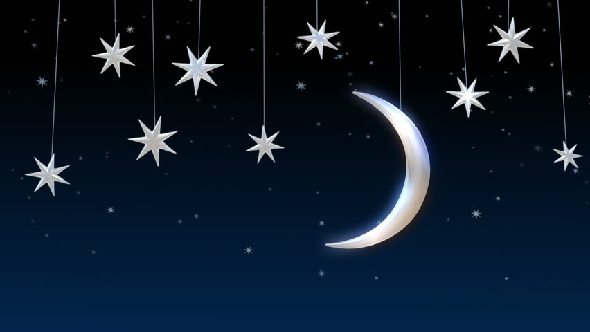 Shiny moon and stars in the sky. | Shutterstock HD Video #5427962