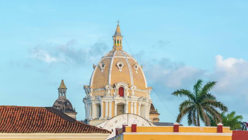Sunset time lapse of San Pedro Claver church in Cartagena, Colombia
