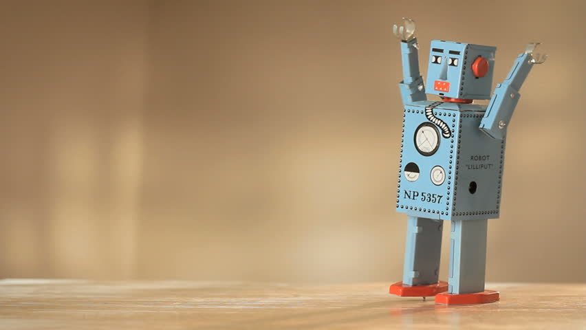 Vintage toy robot walking and falling down 1920x1080 hidef