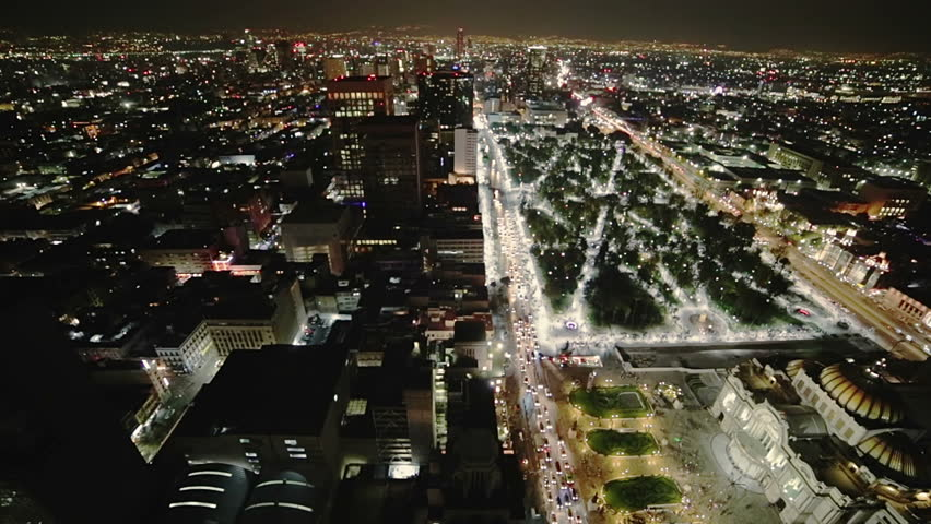 Aerial view at night of Mexico City