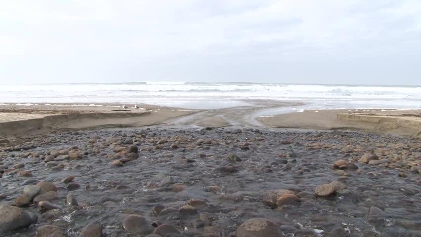 Fresh water river meets salt water ocean in the Pacific Northwest.