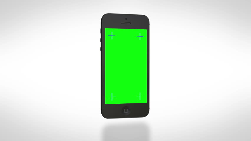 Smartphone turns on on white background. Easy customizable green screen. Computer generated image