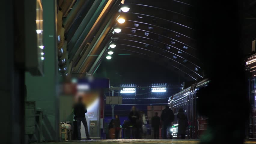 Timelapse view of train departing at the Domodedovo Airport  train station #5460791