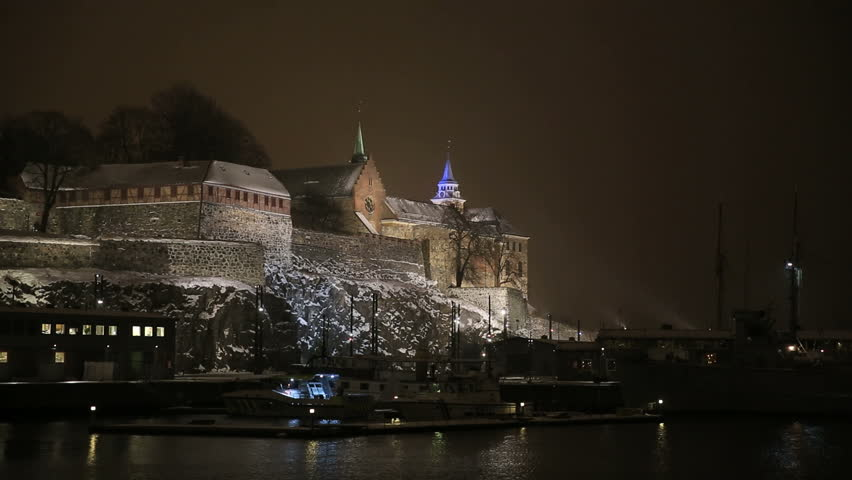Night view of Akershus Fortress   Shutterstock HD Video #5502416
