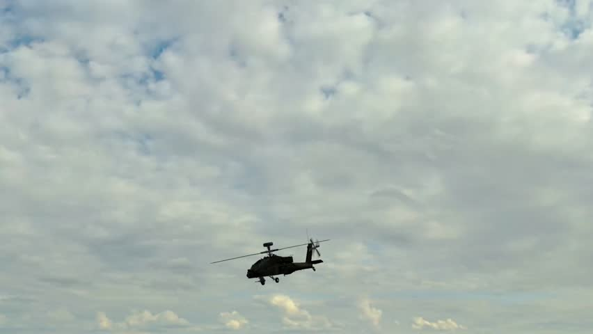 Military Helicopter Boeing AH-64 Apache fly over   Shutterstock HD Video #5503253