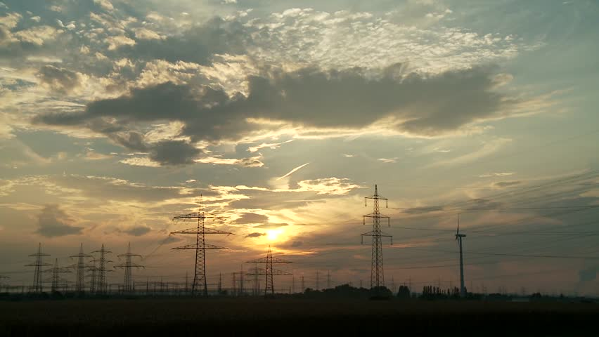 Video footage of a Cloud Timelapse with Electrical Towers   Shutterstock HD Video #5509976