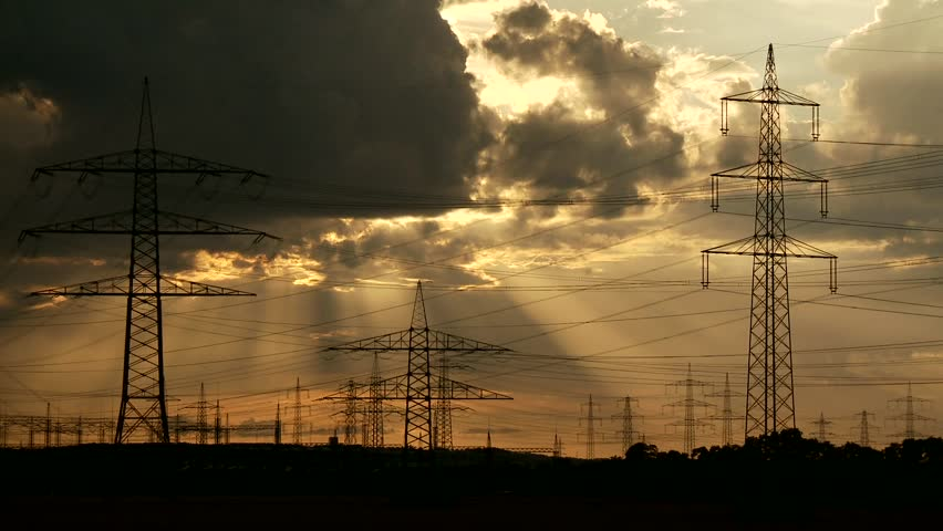 Video footage of a Cloud Timelapse with Electrical Towers   Shutterstock HD Video #5510129