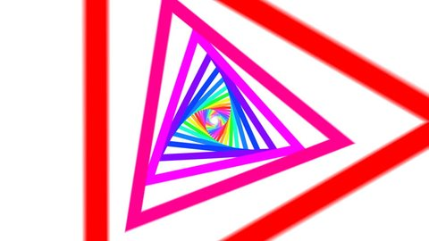 Never ending triangles. Infinite tunnel of colorful triangles. Loops.