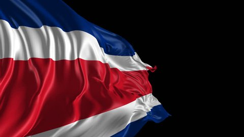 Flag Costa Rica Beautiful 3d animation of Costa Rica flag with alpha channel