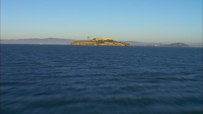 San Francisco City Bay Alcatraz. A sweeping view over the bay of San Francisco, California. The scene focuses on Alcatraz prison.