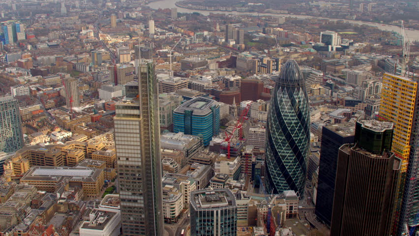 4K Aerial shot of Central London with view of the River Thames, The City Financial District, Liverpool Street, Gherkin, Tower Bridge, Tower of London | Shutterstock HD Video #5519525