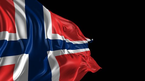 Flag of Norway Beautiful 3d animation of Norway flag with alpha channel