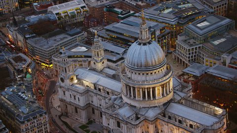4K Aerial shot of Central London with a view of St Paul's Cathedral