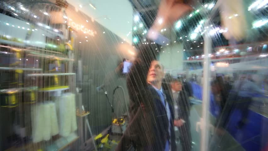 RUSSIA, MOSCOW - NOV 15, 2012: Presentation cleaning products for windows at 14th International Exhibition of purity ExpoClean 2012 in SC Olympiysky | Shutterstock HD Video #5553962