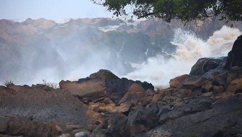 khone Phapeng Falls, Turbulent flow, Champasak province, Laos
