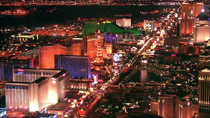 LAS VEGAS, USA - 1 January 2011 - Hotel Strip Night Las Vegas. Aerial footage of the Las Vegas strip at night. Beautiful hotel and skyscrapers light up the city skyline. | Shutterstock HD Video #5575460