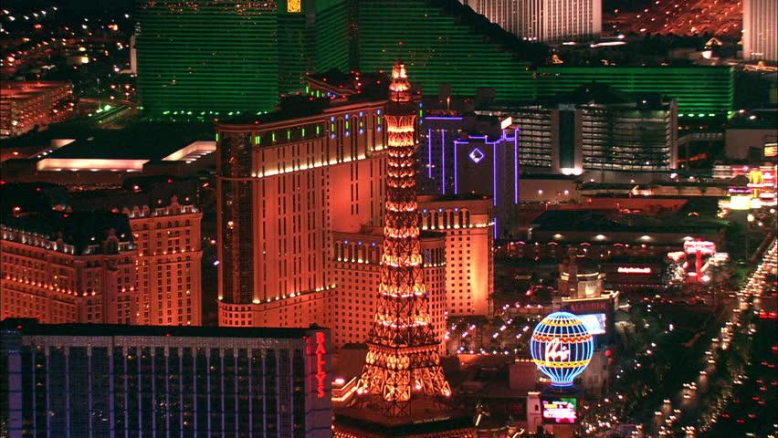 LAS VEGAS, USA - 1 January 2011 - Hotel Strip Night Las Vegas. Aerial footage of the Las Vegas strip at night. Beautiful hotel and skyscrapers light up the city skyline. | Shutterstock HD Video #5575502