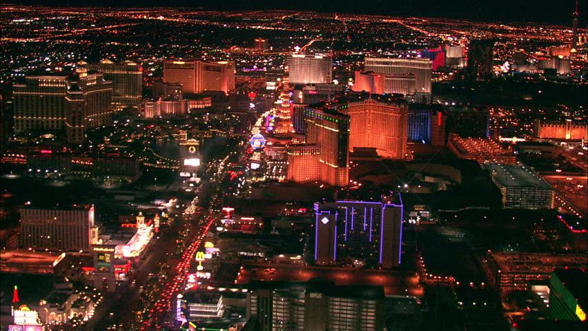LAS VEGAS, USA - 1 January 2011 - Hotel Strip Night Las Vegas. Aerial footage of the Las Vegas strip at night. Beautiful hotel and skyscrapers light up the city skyline. | Shutterstock HD Video #5576633