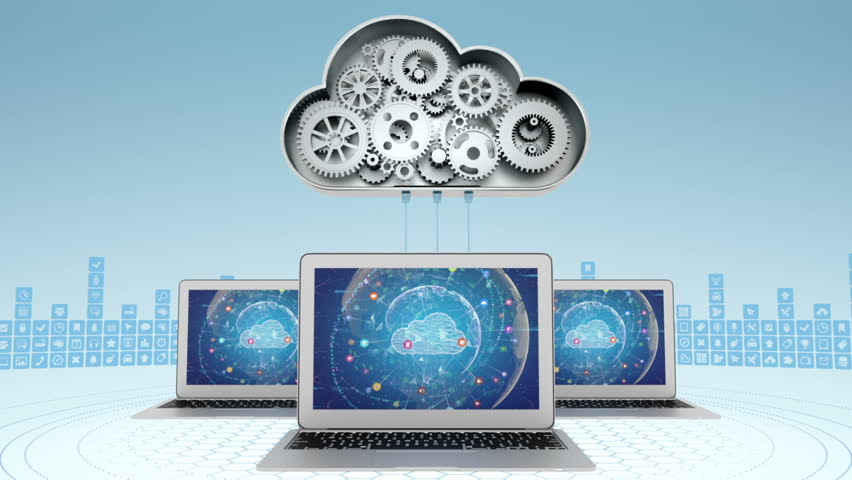 Cloud computing concept with three laptops | Shutterstock HD Video #5587109