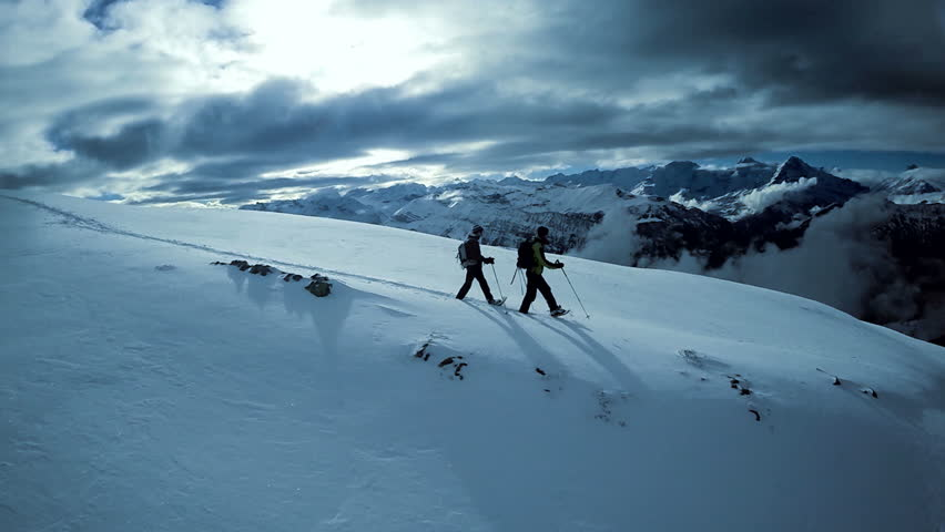 Winter sports resort. glacier mountain landscape. beautiful nature. snow walking. fly over