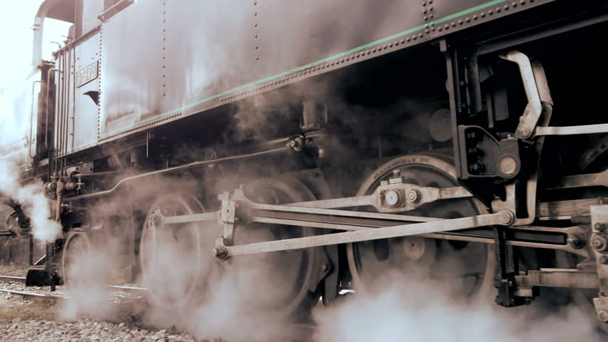 Steam engine. old locomotive. nostalgic technology. transit rail road. steel wheel gear. smoke puffing funnel. travel tourism attraction. 1920x1080