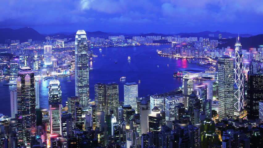 Hong Kong Wide Shot Timelapse Stock Footage Video 100 -7085