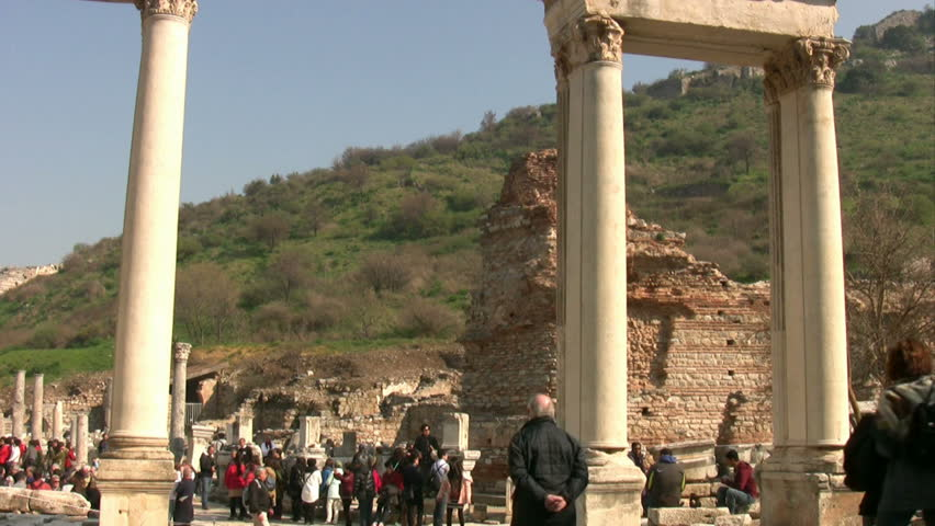6 february 2014 Group of tourists visiting  the famous place Ephesus in Selcuk Turkey | Shutterstock HD Video #5604644