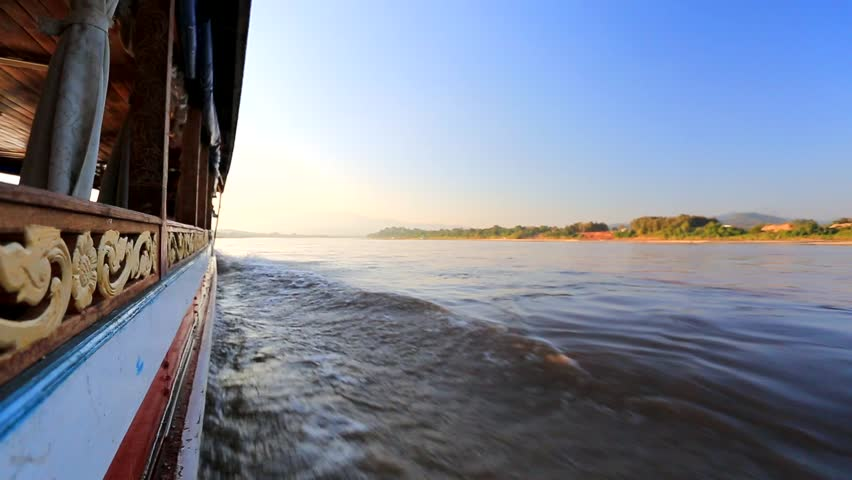 Mekong river, boat cruise. Laos, Huai Xai area. Royalty-Free Stock Footage #5606462