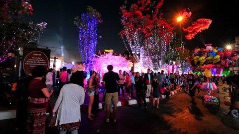 CHIANG MAI, THAILAND - CIRCA FEB 2014: 38th Anniversary Chiang Mai Flower Festival, Old city, Tha Pae Gate area, on circa February, 2014, Chiang mai, Thailand.