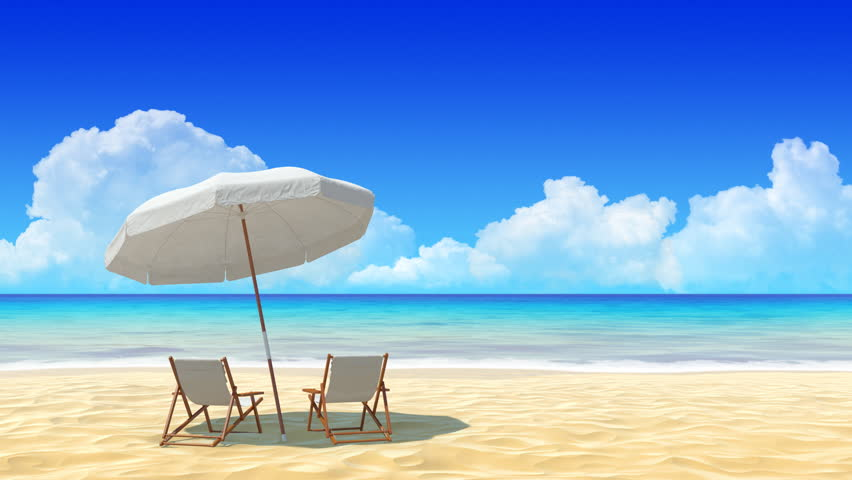 Beach Chair And Umbrella On Stock
