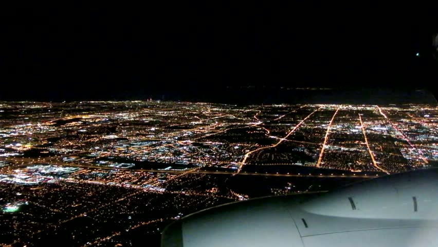 Airplane Approach City At Night Stock Footage Video 100 Royalty