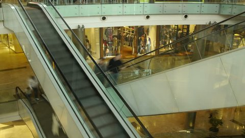 4K Shopping Mall Escalators Time-Lapse. People going up and down. Walking & Shopping.