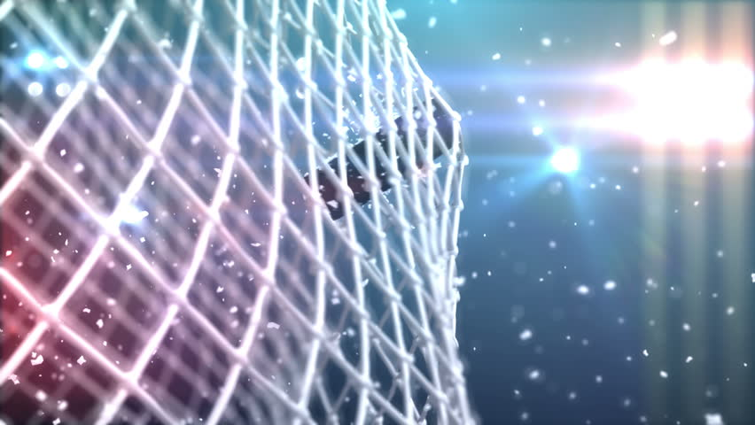 4k the puck flies to gate, beautiful 3d animation.