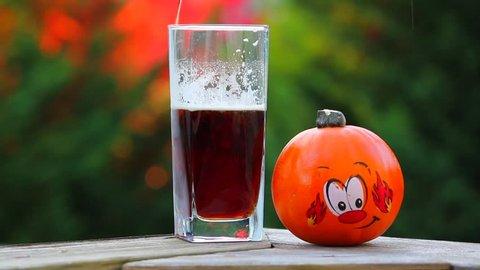 Beer Next to Fall Pumpkin