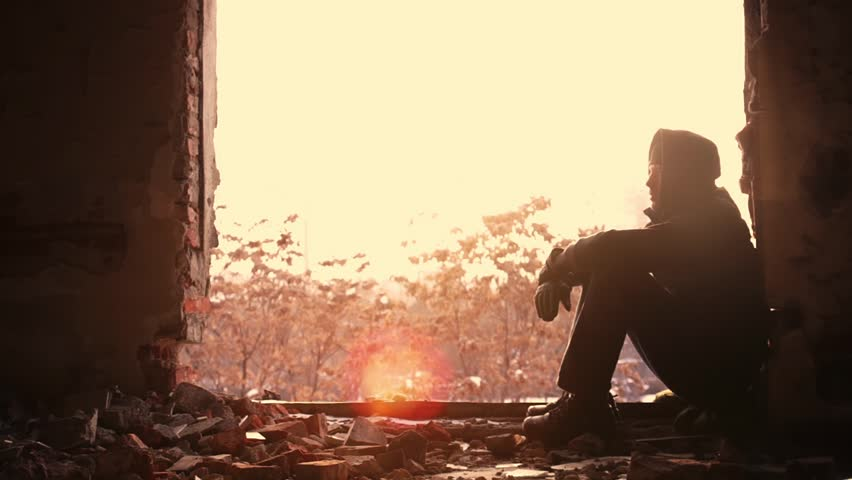 Young Man Sad Depressed Abandoned Building
