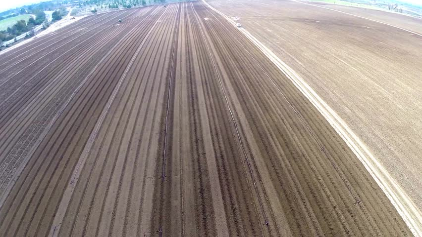 Flight over Potato field Beautiful Aerial view of Tractor works on the field | Shutterstock HD Video #5665394