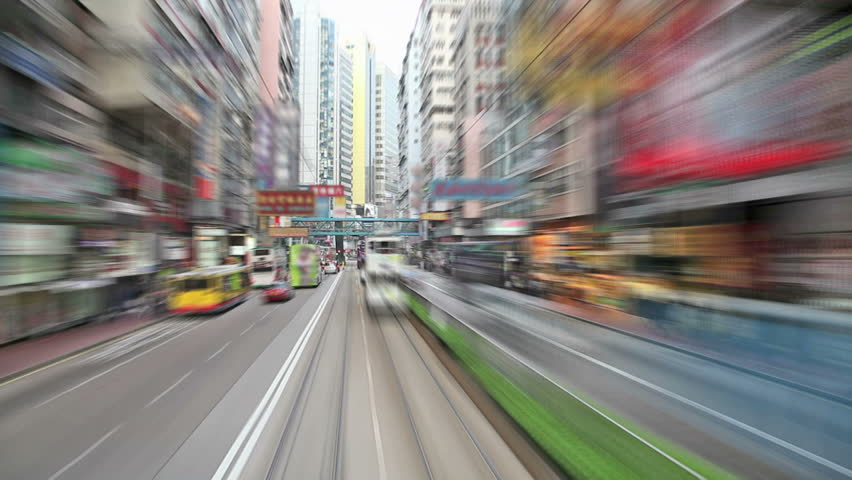 Drive down a busy district in Hong Kong | Shutterstock HD Video #5676644