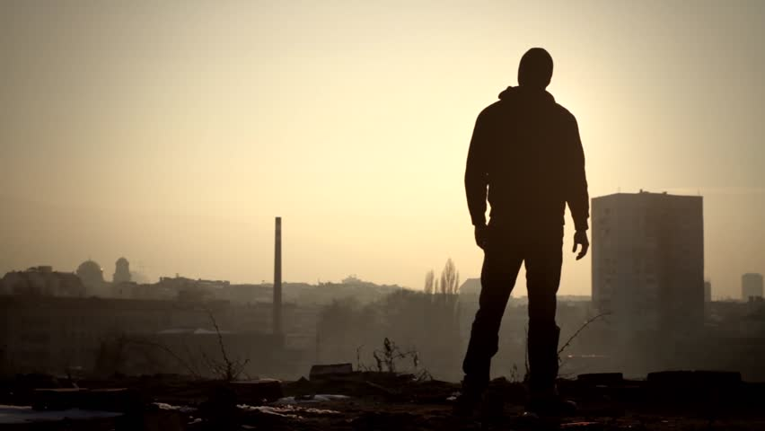 Sad Silhouette Man Standing on Edge Roof Suicide Concept
