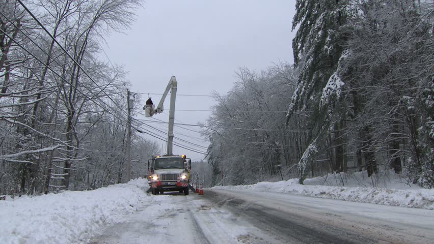 Power Line Repair  Power Line Repair in Winter Storm Aftermath