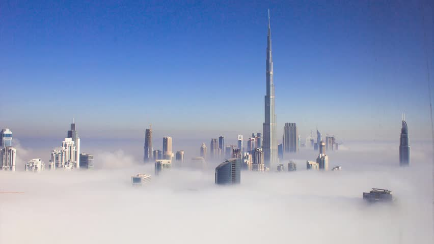 A timelapse of Burj Khalifa (Tallest tower in the world) covered with fog.