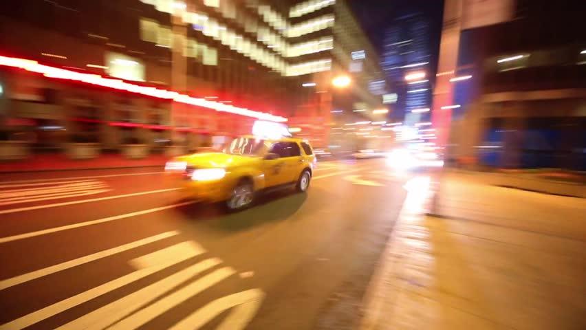 NYC taxi speeding through night streets of New York. Tracking shot. | Shutterstock HD Video #5721668
