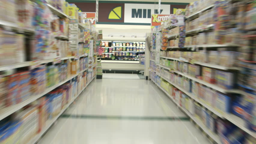 Perspective from a shopping cart as it races through the aisles of a supermarket grocery in time lapse. | Shutterstock HD Video #5723993