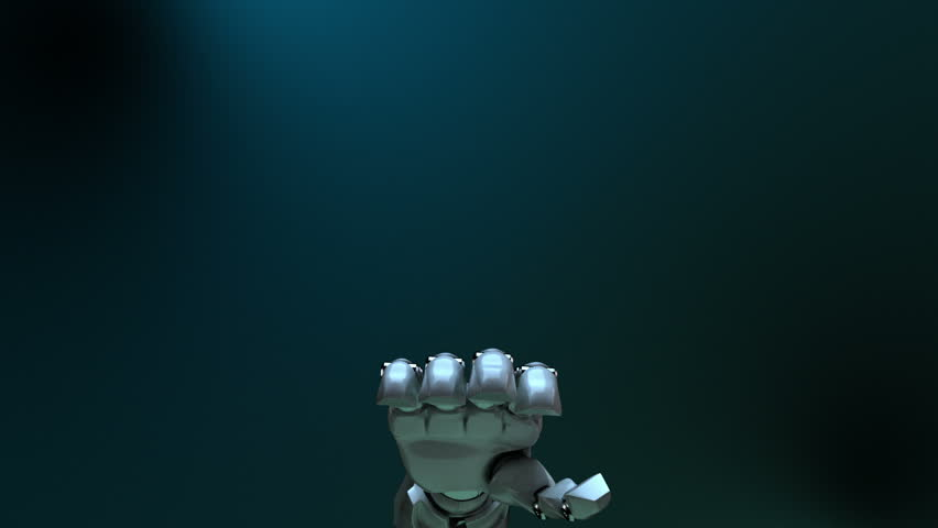 Animated robot hand punching. Alpha channel. #5729927
