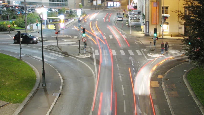 HD time lapse, city car lights