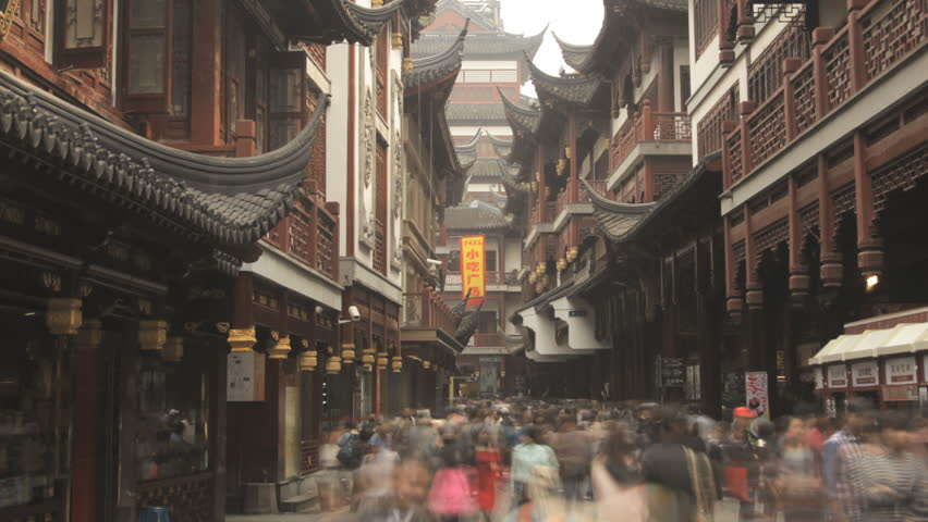 China - Time lapse panning out of a busy shopping street near the Yuyuan Garden In Shanghai, China | Shutterstock HD Video #5731070