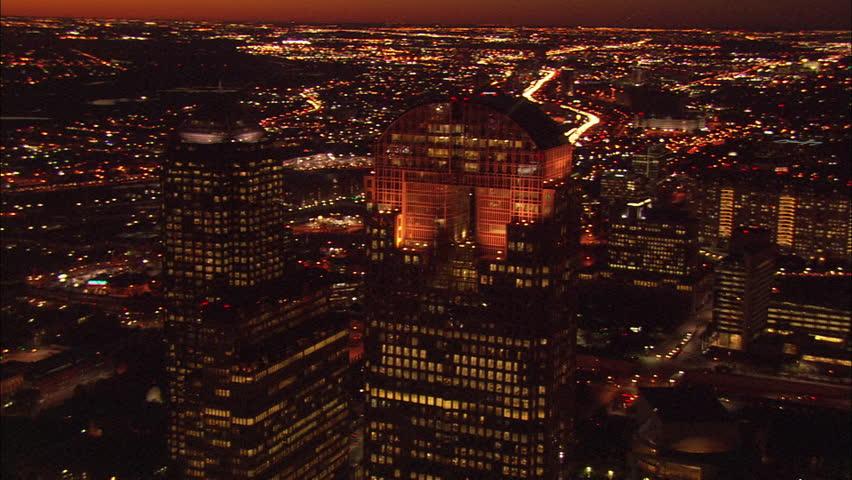 Lights Dallas Skyline. Beautiful orange sunset over Dallas.