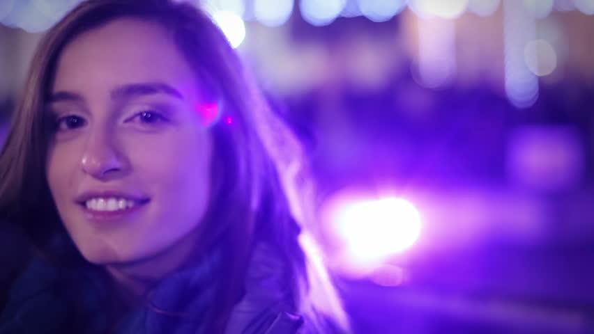 Night portrait of a beautiful young woman | Shutterstock HD Video #5750666
