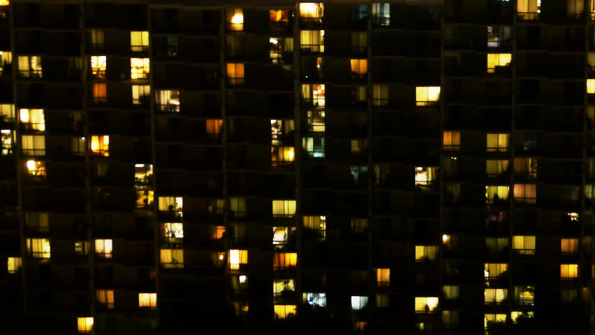 Time Lapse of Apartment Building at Night  #5759594