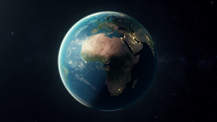 A seamless looping earth. A matte is added in last 25 frames so the animation can be placed over your own background.
